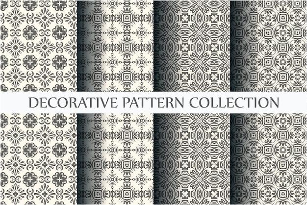 Collection de motifs ornementaux sans soudure avec un minimum de couleur noir et blanc