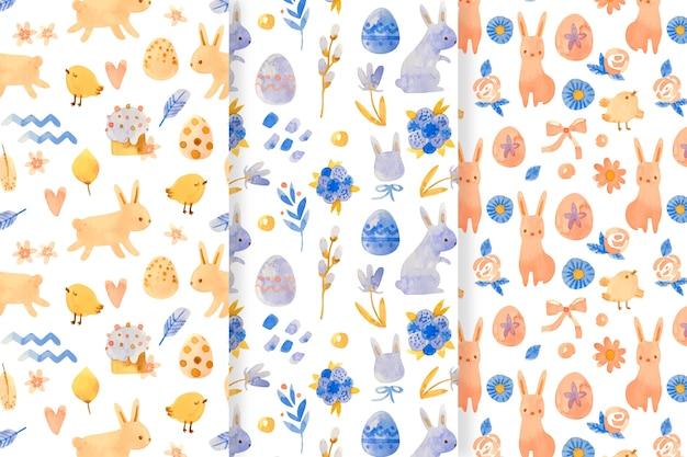 Collection de motifs de pâques aquarelle