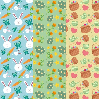 Collection de motifs de pâques design plat