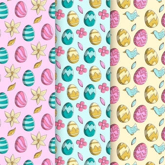 Collection de motifs de pâques dessinés à la main