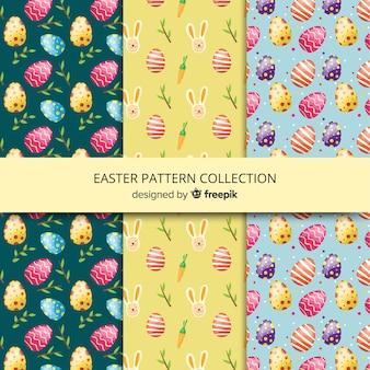 Collection de motifs de pâques plat