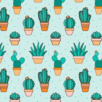 Collection de motifs de plantes de cactus