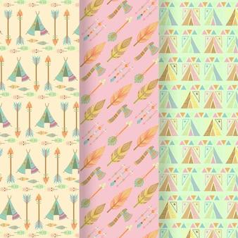 Collection de motifs plats bohèmes