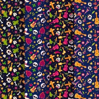 Collection de motifs plats dia de muertos