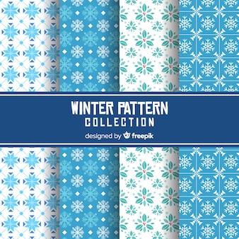 Collection de motifs plats d'hiver