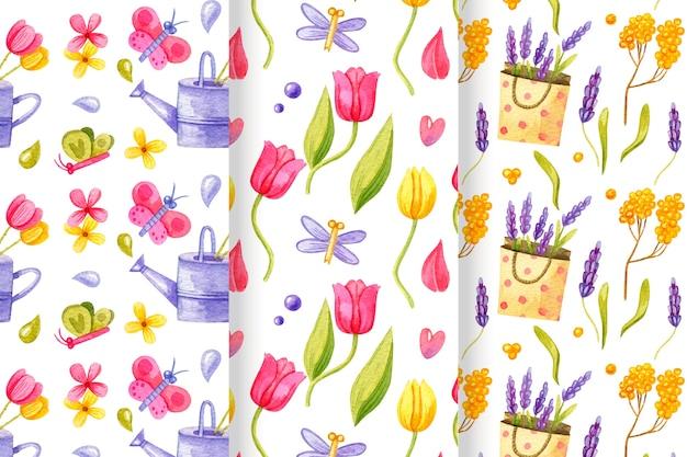 Collection de motifs de printemps aquarelle