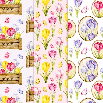 Collection de motifs de printemps aquarelle