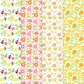 Collection de motifs de printemps au design plat