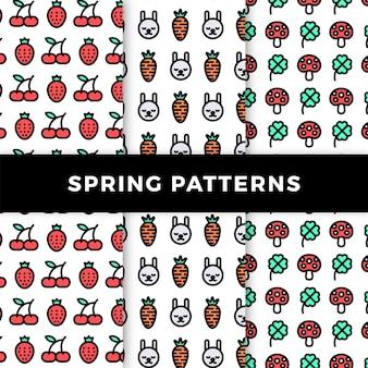 Collection de motifs de printemps avec champignons et fruits