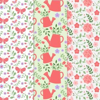 Collection de motifs de printemps colorés dessinés à la main