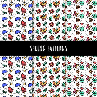 Collection de motifs de printemps dessinés à la main avec des papillons et des glaces