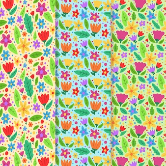 Collection de motifs de printemps dessinés à la main