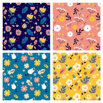 Collection de motifs de printemps dessinés à la main