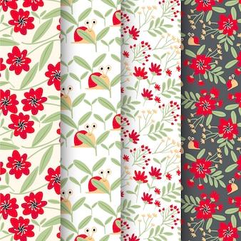 Collection de motifs de printemps avec des fleurs
