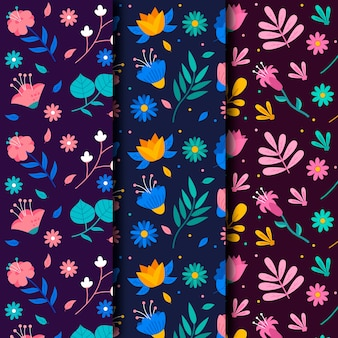 Collection de motifs de printemps floral coloré