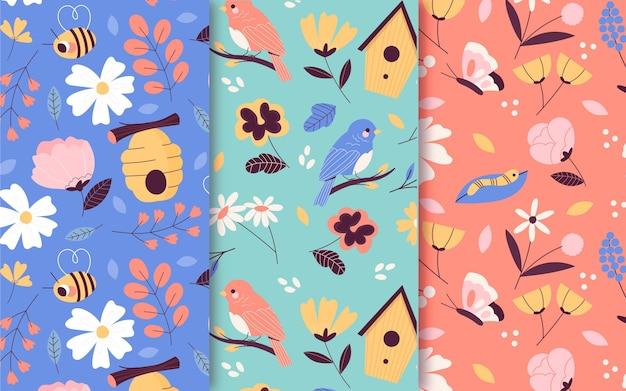 Collection de motifs de printemps floral dessinés à la main