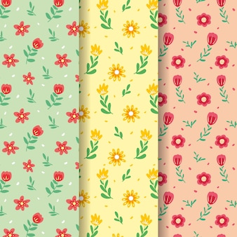 Collection de motifs de printemps de petites fleurs colorées sur le terrain