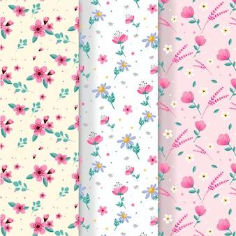 Collection de motifs de printemps plat coloré