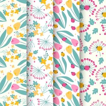 Collection de motifs de printemps avec tulipes et coccinelles