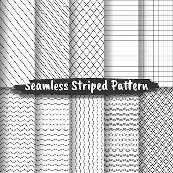 Collection de motifs à rayures sans couture, textures à rayures en noir et blanc