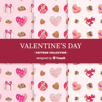 Collection de motifs de saint valentin au chocolat dessinés à la main