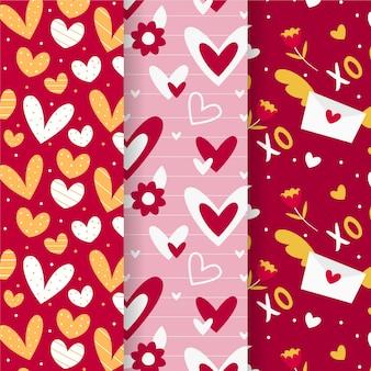 Collection de motifs de la saint-valentin design plat