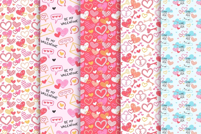 Collection de motifs de saint valentin dessinés à la main