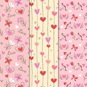 Collection de motifs de la saint-valentin vintage