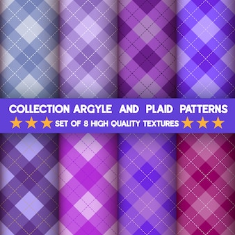 Collection de motifs sans couture argyle et plaid en fond violet.