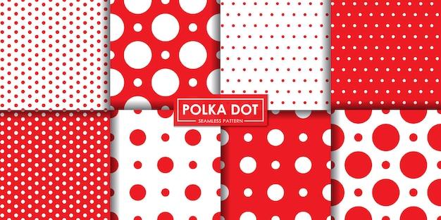Collection de motifs sans couture classique à pois rouges, papier peint décoratif.