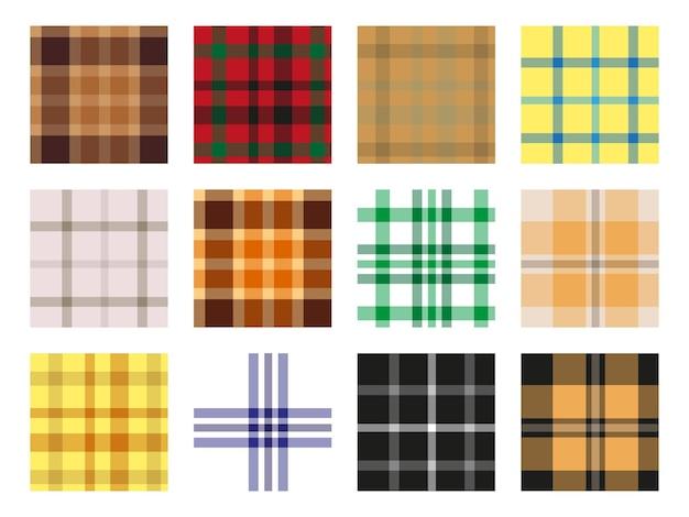 Collection de motifs sans couture avec un motif écossais traditionnel. motif à carreaux. illustration vectorielle.