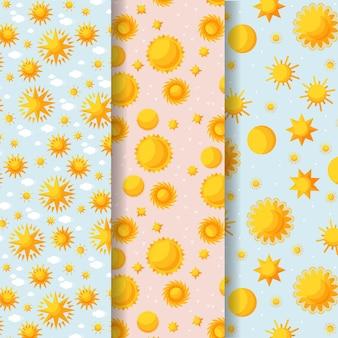 Collection de motifs de soleil plat