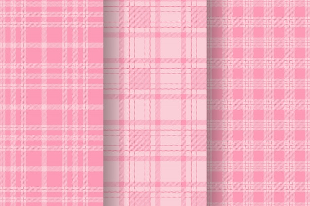 Collection de motifs de tartan à carreaux sans couture rose