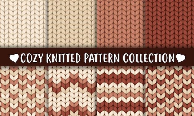 Collection de motifs tricotés couleur marron chocolat crème