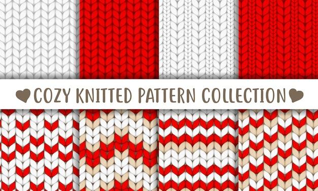 Collection de motifs tricotés rouge blanc beige