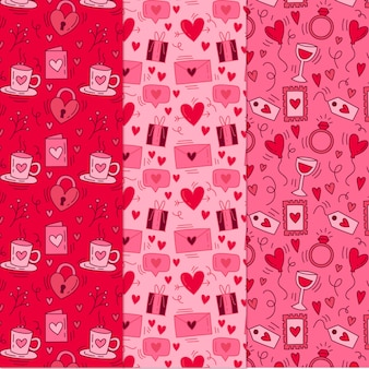 Collection de motifs de valentine dessinés à la main