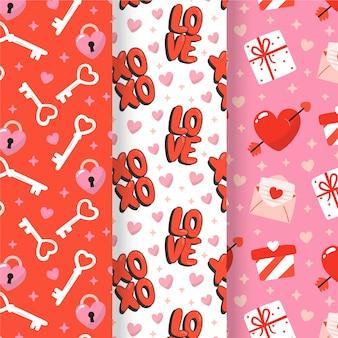Collection de motifs de valentine dessinés à la main