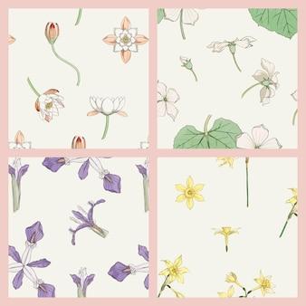 Collection de motifs vectoriels fleur vintage