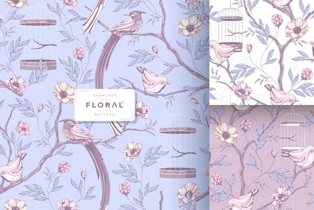 Collection de motifs vintage beaux oiseaux