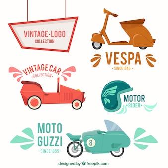 Collection de moto de style vintage