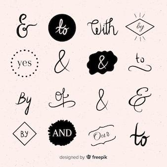 Collection de mots clés de mariage dessinés à la main