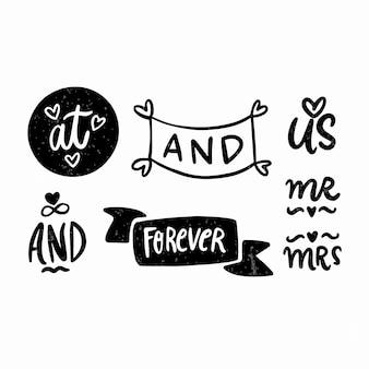 Collection de mots élégants de mariage