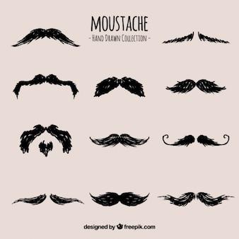 Collection de moustaches dessinés à la main