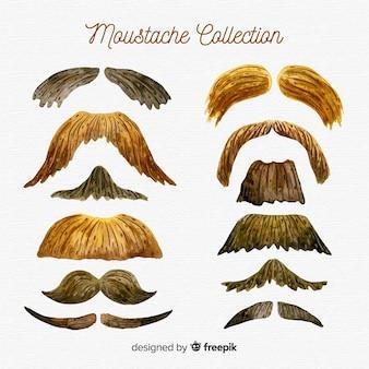 Collection de moustaches movember à l'aquarelle