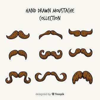 Collection de moustaches movember dessinées à la main