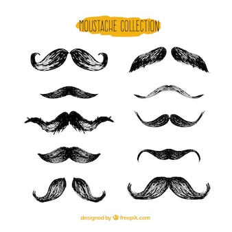 Collection de moustaches noires plates