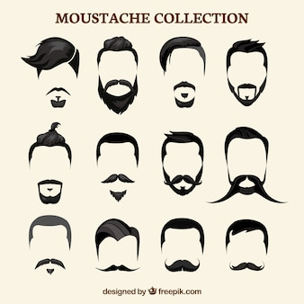 Collection de moustaches plates