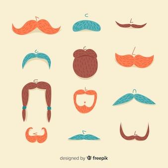 Collection de moustaches de sensibilisation movember dessinées à la main