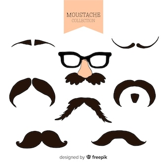 Collection movember de moustache dessinée à la main
