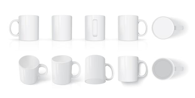 Collection de mug isolé sur blanc